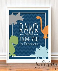 RAWR Means I love you in Dinosaur PRINT - Dinosaur Room - Chevron - Nursery Art