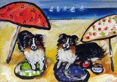 Australian Shepherd beach original dog art by petartbyangie, $35.00