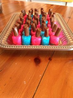 Nail polish made with marshmellows and tootsie rolls! Gender reveal idea!