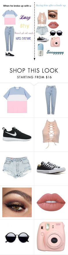 """""""Sucker!!!!"""" by rayneruscheinsky ❤ liked on Polyvore featuring Topshop, NIKE, Converse, Lime Crime, Fujifilm and Valfré"""