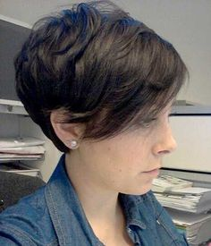 Short Layered Pixie Hairstyle with Long Bangs