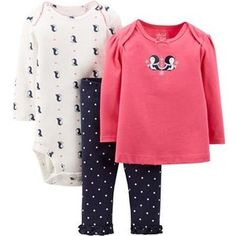 Child of Mine by Carter's Newborn Baby Girl Top, Bodysuit, and Pant 3-Piece Outfit Set Walmart.com