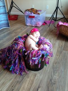 "Newborn photography behind the scenes: it takes a lot of work and know-how to set up the shoot! Here Alicia Cram Photography's studio as she uses my special ""la Boheme"" colored Fringie design for an unforgettable portrait"