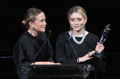 NEW YORK, NY - JUNE 02:  Designers Mary-Kate Olsen (L) and Ashley Olsen speak onstage at the 2014 CFDA fashion awards at Alice Tully Hall, Lincoln Center on June 2, 2014 in New York City.  (Photo by D Dipasupil/Getty Images) via @AOL_Lifestyle Read more: https://www.aol.com/article/entertainment/2017/03/09/mary-kate-and-ashley-olsen-the-edit-interview/21877227/?a_dgi=aolshare_pinterest#fullscreen