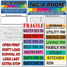 Tag-A-Room Color Coded Office Moving Box Labels, http://www.amazon ...