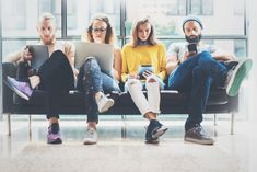Group Adult Hipsters Friends Sitting Sofa Using Modern Gadgets.Creative People Working Together Marketing Project. 4 Personality Types, Strong Personality, Find A Realtor, Young Leaders, Market Value, Four Year Old, How Many People, Hipsters, Start Up Business