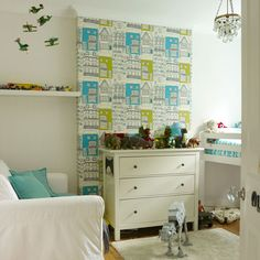 Children's room with architectural wallpaper | Childrens Wallpaper | photo gallery | style at Home | Housetohome.co.uk
