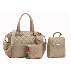 Storksak Bobby Quilted Diaper Bag And Tote Set - Cappuccino | Designer Diaper Bags  www.duematernity.com Follow Due Maternity on Instagram www.instagram.com... BEST selection of Maternity clothes anywhere!