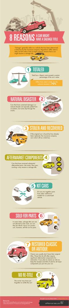 Unique Infographic Design, 8 Reasons A Car Might Have A Salvage Title #Infographic #Design (http://www.pinterest.com/aldenchong/)