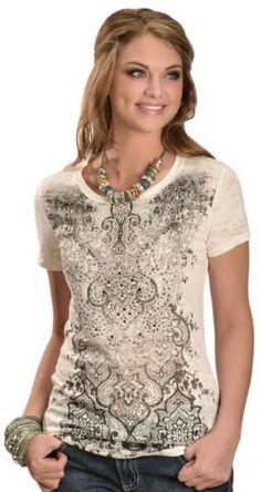 Wrangler Rhinestone Embellished Fleur-de-Lis Burnout Tee available at #Sheplers