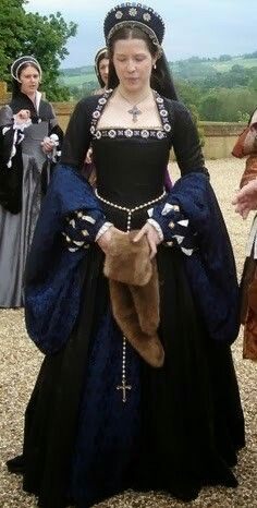 """Black and Royal Blue Tudor Gown with French Hood, Costume """"The Tudors"""" Mode Renaissance, Costume Renaissance, Medieval Costume, Renaissance Clothing, Renaissance Fashion, Medieval Dress, Historical Clothing, Tudor Dress, Tudor Costumes"""