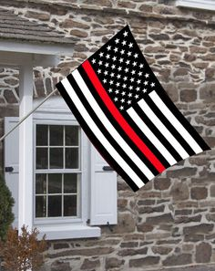 American Flag with Thin Red Line Design Decorative House Flag