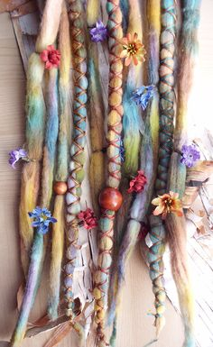 Dreads! Tie-Dye Multi Color Wool Dreads with flowers,  X-Cross Wrap & Beads Bohemian Hippie Dreadlocks Synthetic Boho Extensions purplefinchstore