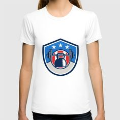 Kettlebell Hanging Barbell USA Flag Crest Retro T-shirt. Illustration of a kettlebell hanging on a barbell set inside shield crest with stars and stripes usa flag in the background done in retro style. #illustration #KettlebellHangingBarbell