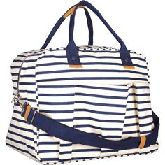 Canvas Overnighter Bag - Navy Stripe — MUSEUM OUTLETS