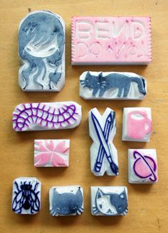Posts about eraser stamps written by Stasia Burrington Make Your Own Stamp, Eraser Stamp, Stamp Carving, Homemade Art, Handmade Stamps, Kids Prints, Mark Making, Diy Projects To Try, Crafts