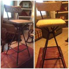 Before and after 50s kitchen stool from my great-aunt. DIY