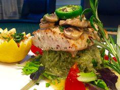 Dinner tonight  Mahi mahi  with wine garlic butter mushroom on topsauce , urugula salad  & green rice  !!!