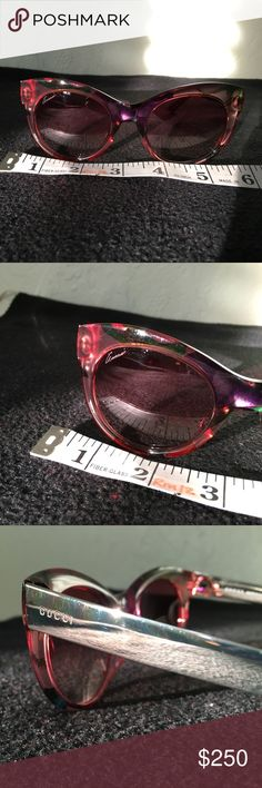 Gucci sunglasses. Made in Italy. With case. Lovely and stylish Gucci glasses made in Italy. Used once. No scratches. In excellent condition. Metallic and pinkish/orangish plastic translucent frame. Gucci Accessories Glasses