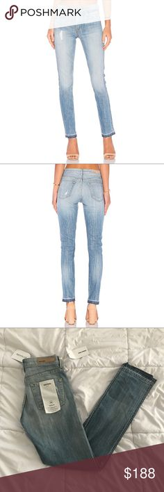 """Grlfrnd Naomi High Waisted jeans Gorgeous light wash jeans from Grlfrnd denim in the style """"Naomi"""". The wash is called """"Love to love you, baby"""". This style is high waisted with a straight leg fit and a raw hem. Has a bit of stretch (98% cotton, 2% elastane) NWT. Stock photo shows accurate color. Size 24. Open to offers!  Measurements laid flat Waist: 13"""" Hips: 16.5"""" Inseam: 30"""" Rise: 10""""  ⭐️ Top-rated seller! 💌 All items ship same or next day 🎀 Free stickers with purchase  📩 All…"""