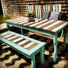 Those colours!!! cool!!   DIY: Painted Pallet Furniture - http://dunway.info/pallets/index.html  Like our Facebook page! https://www.facebook.com/pages/Rustic-Farmhouse-Decor/636679889706127