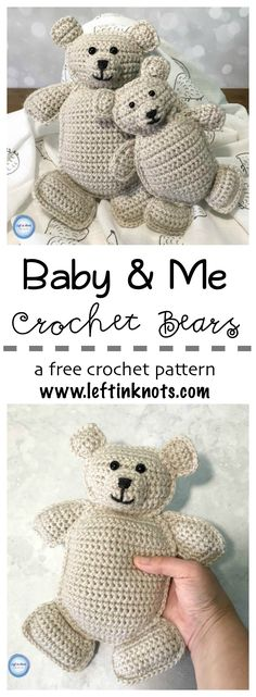 These free crochet pattern for rag doll teddy bears are an adorable gift for new baby and big brother/sister!  Perfect for little hands to hug and snuggle, this free crochet pattern will give you instructions for both the large and small bear. #lionbrandyarn #vannaschoice #crochet #crochetpattern