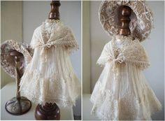 フランス アンティーク 美しいレースのドレスとケープ ジュモー ドール コスチューム 衣装 フレンチ ストール ショール 刺繍 リボンワーク_画像1