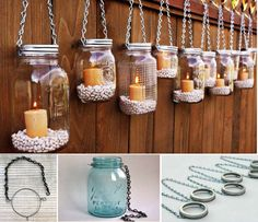 Mason jar lanterns perfect for outdoor party