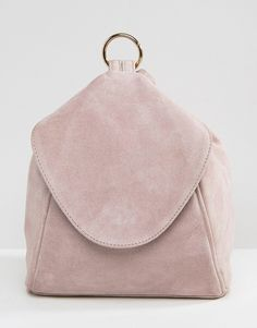 810e08b607d18 ASOS Suede Minimal Backpack With Ring Pull Detail Brown Backpacks