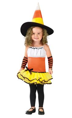 Candy Corn Witch Toddler Costume for Halloween - Pure Costumes