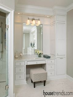 Make counter higher. Use stool on wheels. Wider drawers only on the left side. Build in electrical outlets in cabinet for hair hot tools.