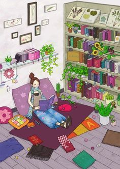 This is me, plants and books!