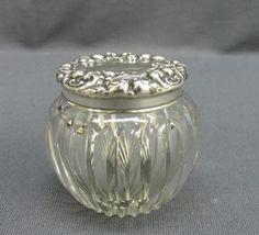 Antique Sterling Silver Floral Top Cut Glass Base Dresser Powder Jar