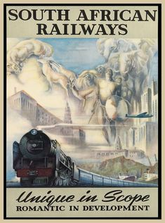 Vintage Travel South African Railways - - Travel posters dating from before the golden age of jet travel are to go on sale in New York, the most expensive of which is valued at Train Posters, Railway Posters, Poster S, Poster Prints, South African Railways, Art Deco Posters, Retro Posters, Movie Posters, Trains