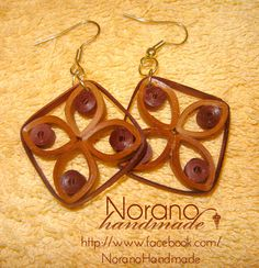 Quilled Earrings - Brown Latices by norano-handmade