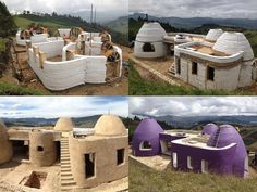 Definitely bot in purple tho Hut House, Dome House, Adobe Haus, Earth Bag Homes, Earthship Home, African House, Eco Buildings, Tent Design, Clay Houses
