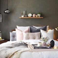 Crushing on this bedroom setup by @decoraide  we are digging the dark wall with pastel details  #interior #interiors #bedroom #bedroomdecor #bedroominspo #bedroomstyle #home #homedecor #homestyle #interiordecor