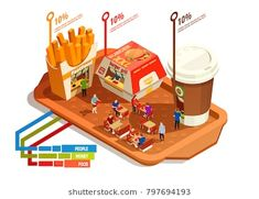 Food court infographic concept with burger fries coffee on tray isometric illustration