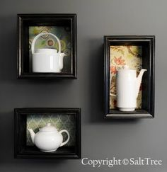 This could be a cute idea to display my tea cup collection. Different colour and textural paper in the background to offset the colour of the cups
