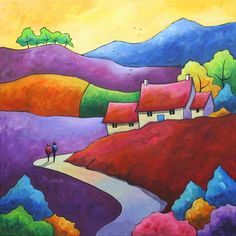 Evening Stroll (On Show At Malvern Theatres) by Gillian Mowbray Watercolor Architecture, Watercolor Landscape, Landscape Paintings, Painting For Kids, House Painting, Naive Art, Landscape Quilts, Pastel Art, Art Images