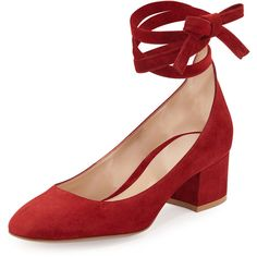 Gianvito Rossi Petra Suede Ankle-Wrap 45mm Pump ($825) ❤ liked on Polyvore featuring shoes, pumps, burgundy, shoes pumps, multi-color pumps, multi color shoes, gianvito rossi pumps, suede ankle strap pumps and colorful pumps