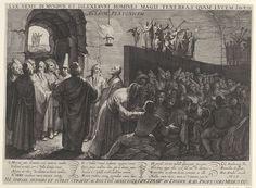 Jan Saenredam | Grot van Plato, Jan Saenredam, Hendrick Laurensz. Spieghel, Hendrick Hondius, 1604 | De grot van Plato, afgebeeld als een kamer van het hart. De grot wordt door een grote muur in tweeën gedeeld. Op de muur staan allerlei personificaties (Liefde, Hoop, Geloof, Gierigheid, Drankzucht, Faam, enz.). Een vuurpot achter deze personificaties werpt hun schaduwen op de grotwand. Op de voorgrond rechts zit een grote groep mensen, van verschillende standen en religies. De mensen zijn…