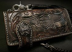 Easy Rider Motorcycle Long Leather Wallet Brown Silver 925 Concho Biker Wallet | eBay