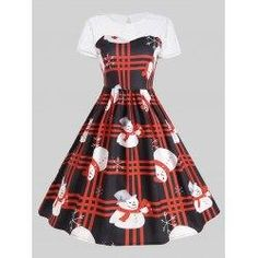 #trendsgal.com - #Trendsgal Mesh Panel Plaid Christmas Snowman Party Dress - AdoreWe.com