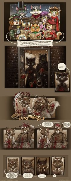 Looooove this little side comic about two of my fav characters from the fantastic online comic Lackadaisy by Tracy Butler. Makes me want to enjoy some old-fashion murder pie too! (just like grandma used to make)