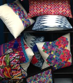 Hand-woven, brightly coloured cushions featured highly.