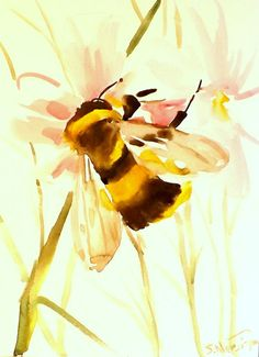 Bumblebee And Flower Oriignal Painting Watercolor 9 X 12 In Animal