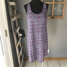 Gilligan & O'Malley Purple Multi Dotted Sleeveless Knit Modal Sleep PJ Dress L #GilliganOMalley #DressGown #Casual