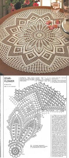 """ Deniz \""Large star or flower shaped doily pattern\"", \""This post was discovered by Bea\"""", ""Crochet rug crochet carpet doily lace rug by eMDesignBou Filet Crochet, Crochet Doily Diagram, Crochet Doily Patterns, Crochet Chart, Thread Crochet, Crochet Motif, Crochet Designs, Crochet Stitches, Crochet Dollies"