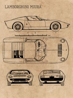 Classic Cars Blueprint Blueprints poster prints by Ihab Design Lamborghini Miura, Blender 3d, Volvo Wagon, Blueprint Art, Automobile, Car Gadgets, Best Classic Cars, Car Posters, Futuristic Cars